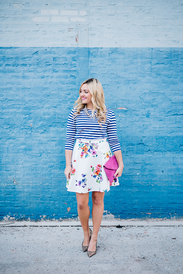 floral skirt blue stripes print mixing spring