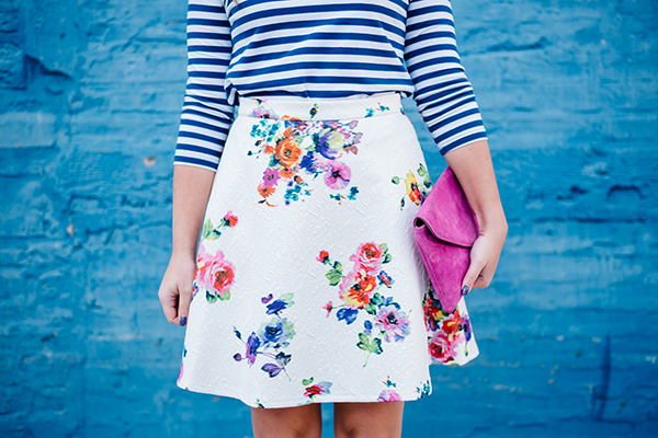 floral skirt fit and flare white pink blue green purple
