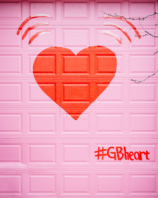 #gbheart chicago heart mural pink red