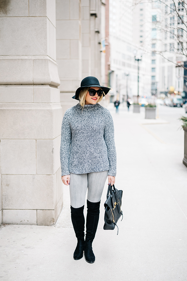 grey and black winter outfit