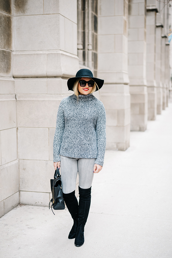 grey jeans black over the knee suede boots