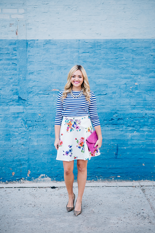 how to mix prints floral stripes