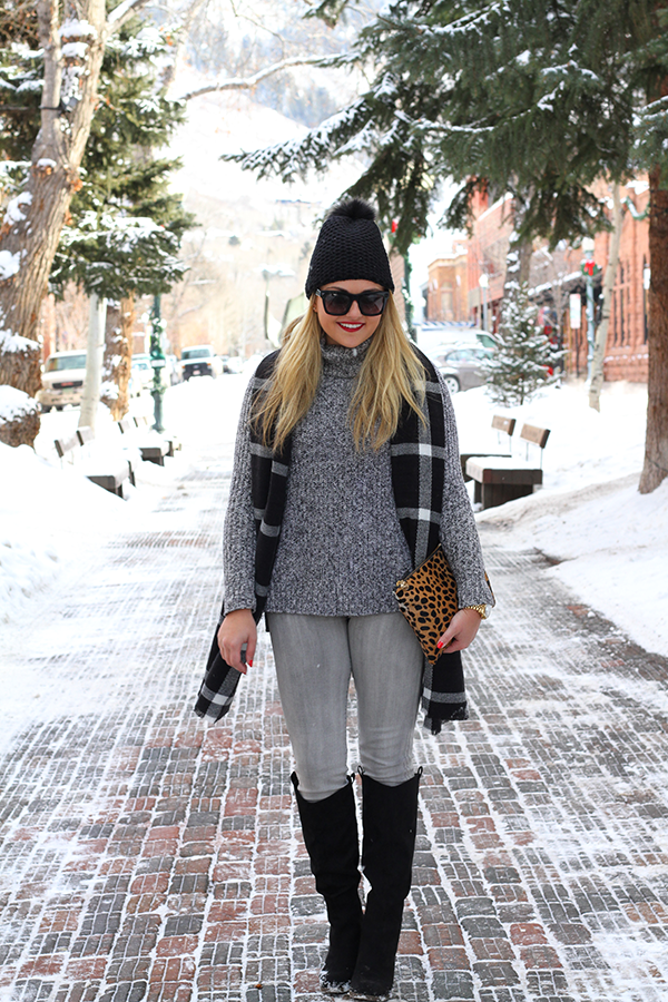 monochromatic grey and black outfit