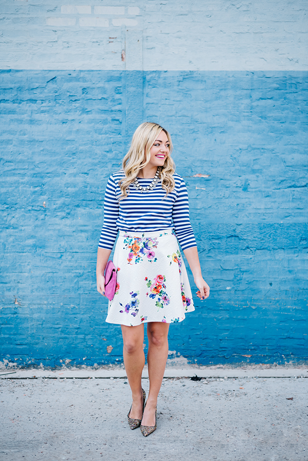 print mixing floral stripes
