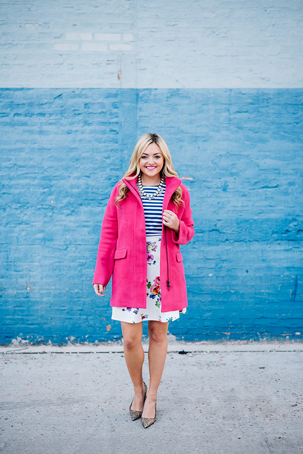 spring pink coat floral skirt striped shirt