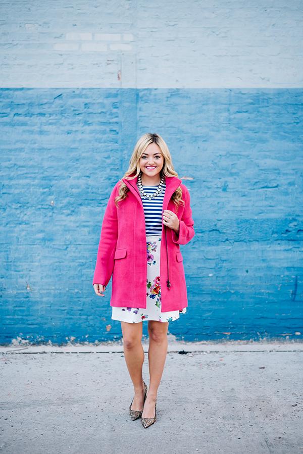 spring pink coat floral skirt striped shirt