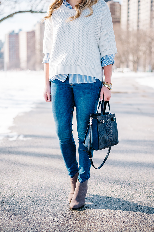 winter to spring transition outfit jeans and booties