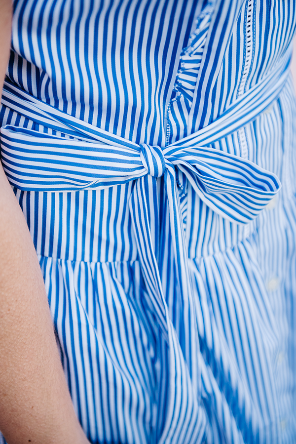 blue striped dress with bow