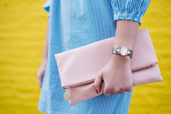 blush pink leather clutch