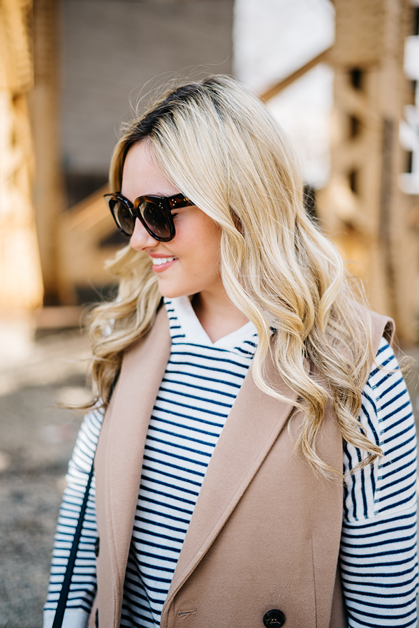celine sunglasses audrey, striped blue and white hooded sweatshirt, camel wool trench coat vest