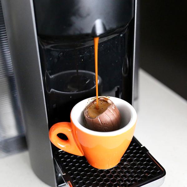 chocolate eggs with espresso eggspresso