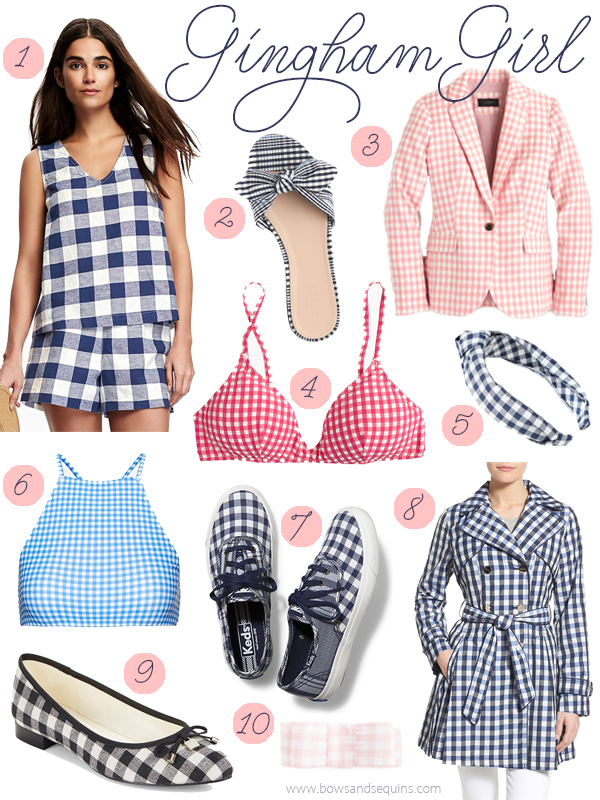 gingham check blue red dress blazer shoes fabric