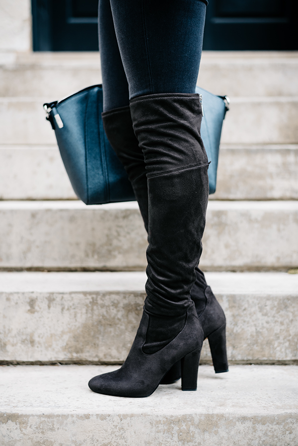 grey jeans with grey over the knee suede boots outfit