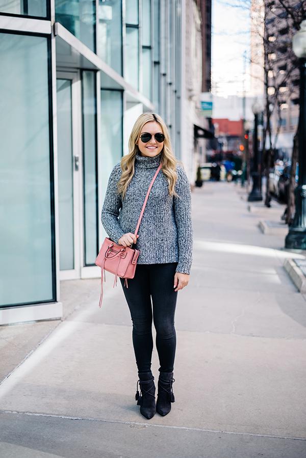 grey skinny jeans suede tassel boots