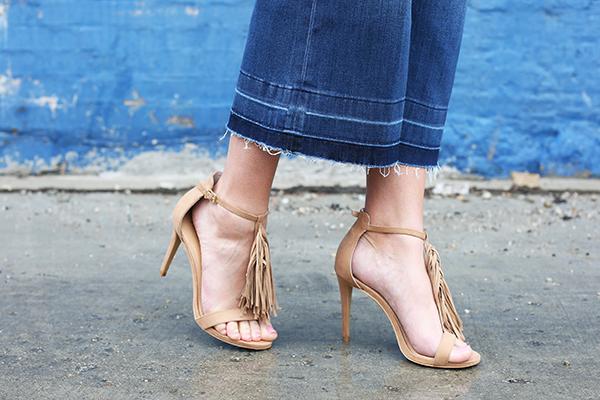 high heels sandals with fringe