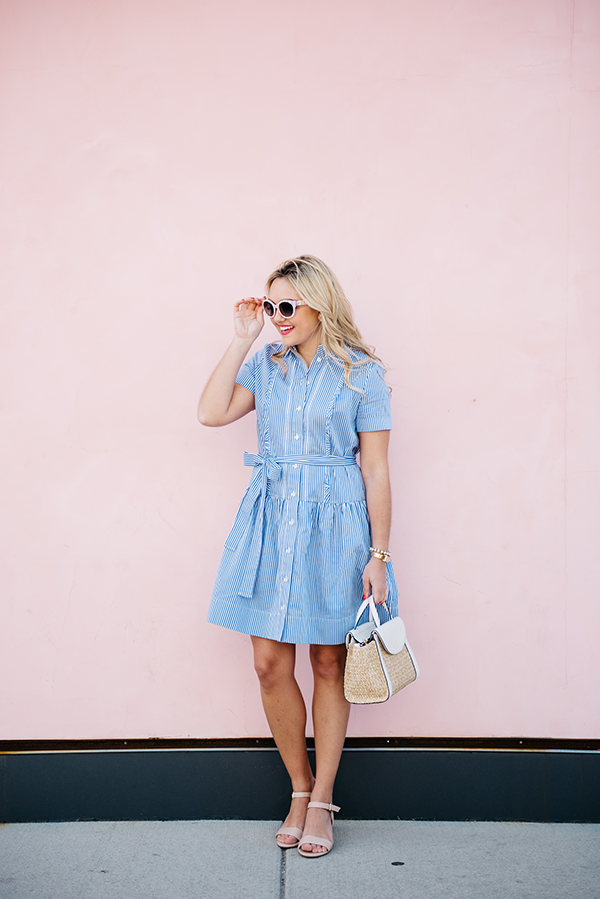 0a5097c34cf3 Kate Spade Striped Shirt Dress and Straw Handbag — bows   sequins