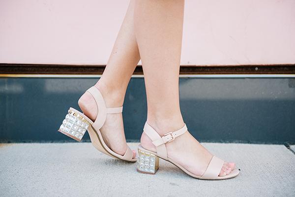 nude ankle strap sandal open toe crystal block heel dune london