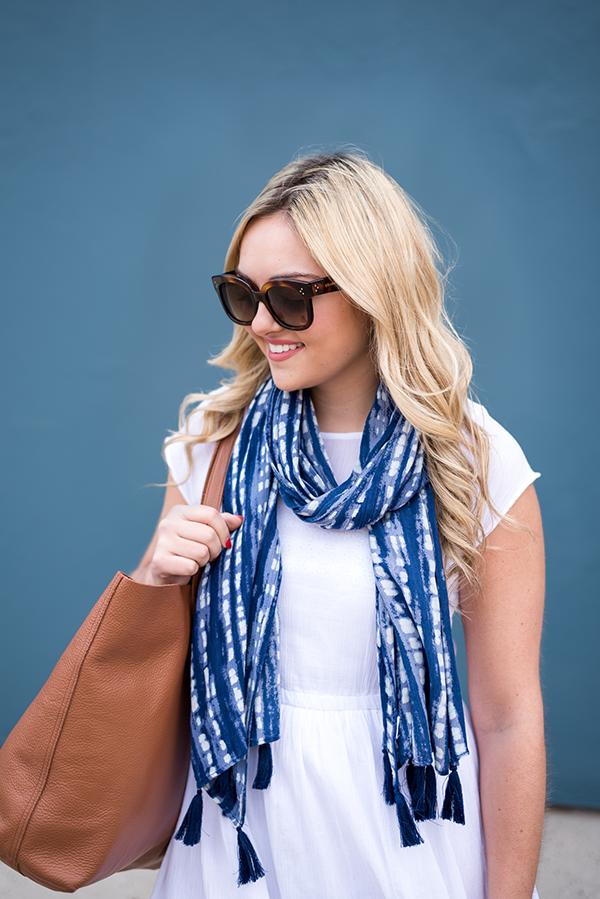 printed tassel scarf