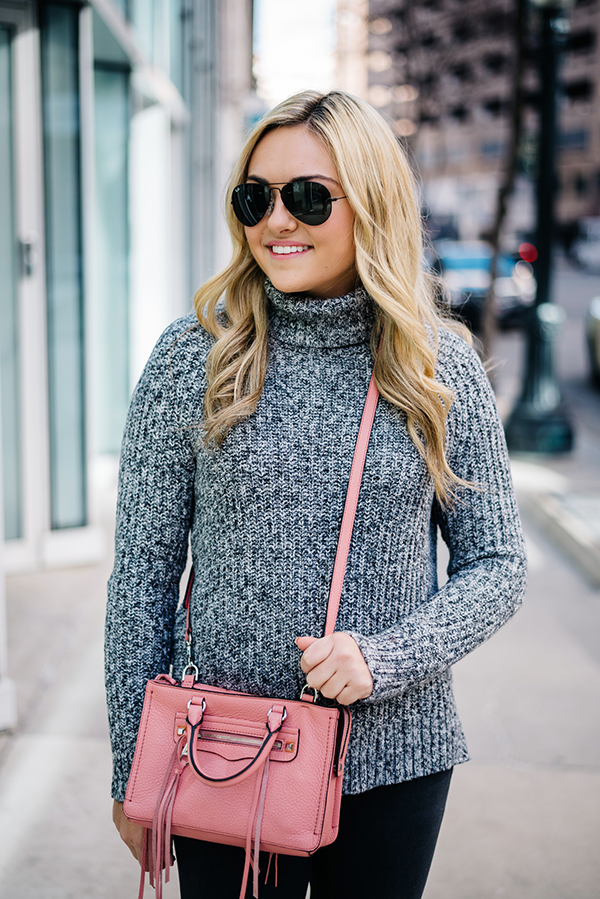 Bows & Sequins styling an all grey outfit with a pop of pink. Perfect for winter!