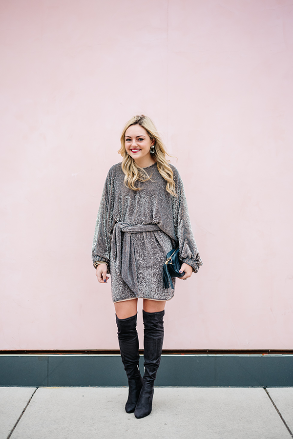 sequin dress with over the knee suede boots