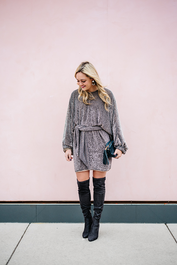 Sequin Dress With Suede Thigh High Boots