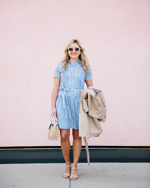 spring striped stress trench coat sandals