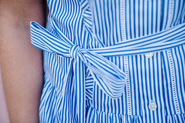 stripe dress with bow and ruffles