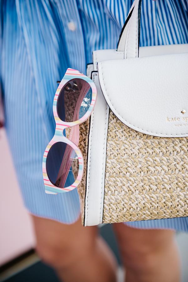 striped sunglasses, straw handbag