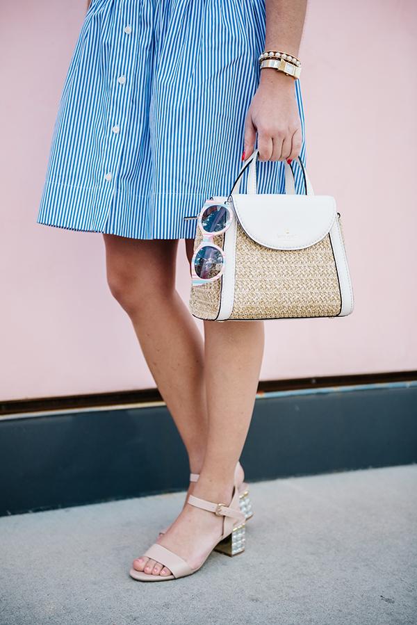 summer handbag, dune london sandals, kate spade striped dress