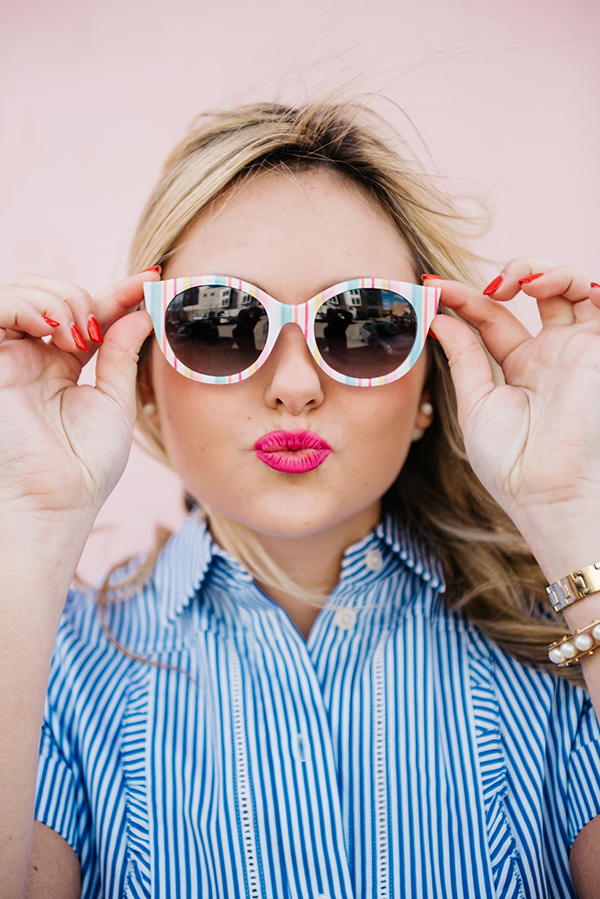 summer sunglasses pink blue stripes