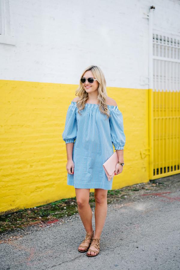 trina turk dress blue and white stripe