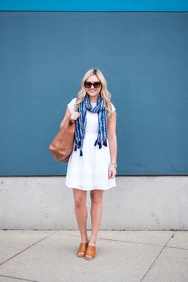 white summer dress with navy printed scarf
