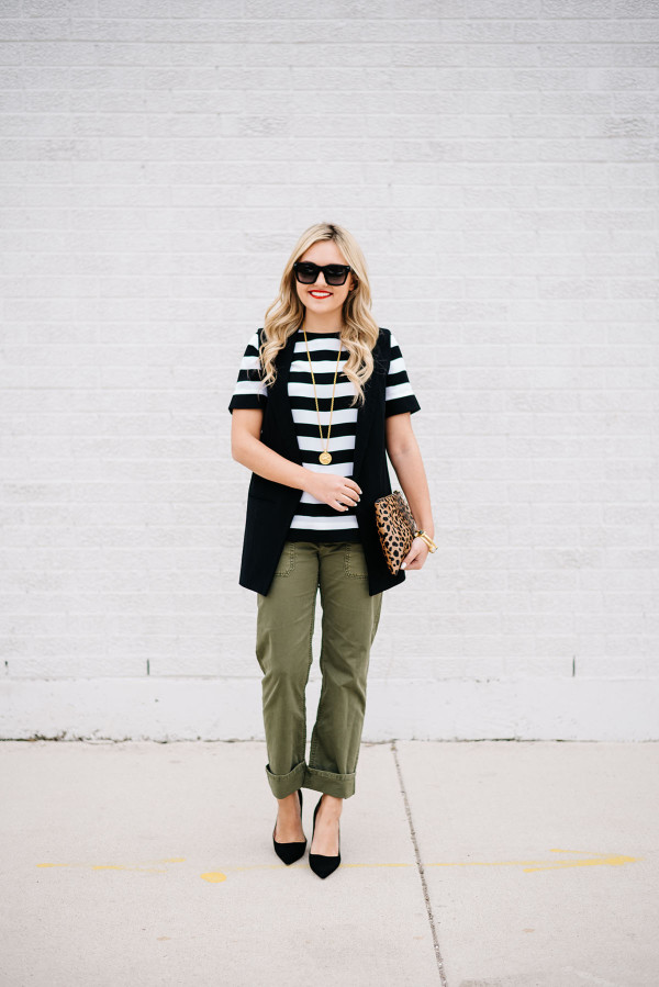 banana republic rugby stripe top, boyfriend chino pant
