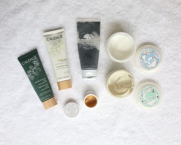 Best Face Masks at Home - Caudalie Purifying Mask, Caudalie Moisturizing Mask, Fresh Honey Mask, Origins Clear Improvements Charcoal Mask, Glossier Mega Greens Galaxy Pack Detox Mask, Glossier Moisturizing Moon Mask