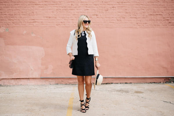 black dress with white blazer