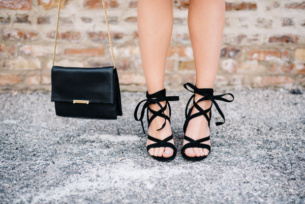 black leather ivanka trump crossbody bag, black ivanka trump kiernan lace up sandals high heel
