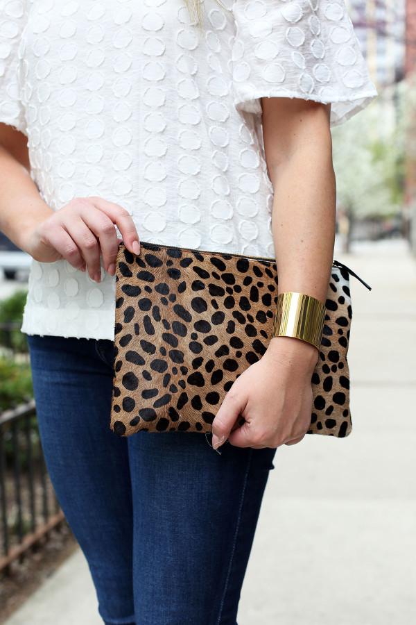 clare v leopard clutch, gold cuff bracelet