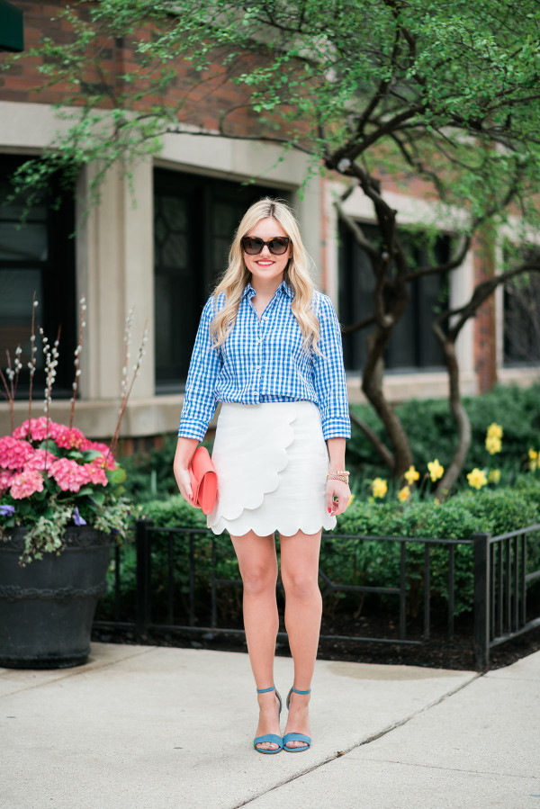 cute spring outfit gingham scallops colorful