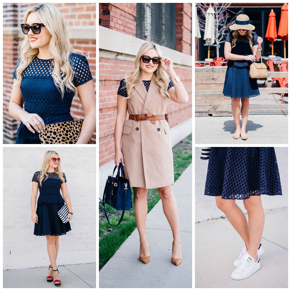 five ways to wear a navy eyelet dress in the summer vest sneakers hat stripes leopard belt
