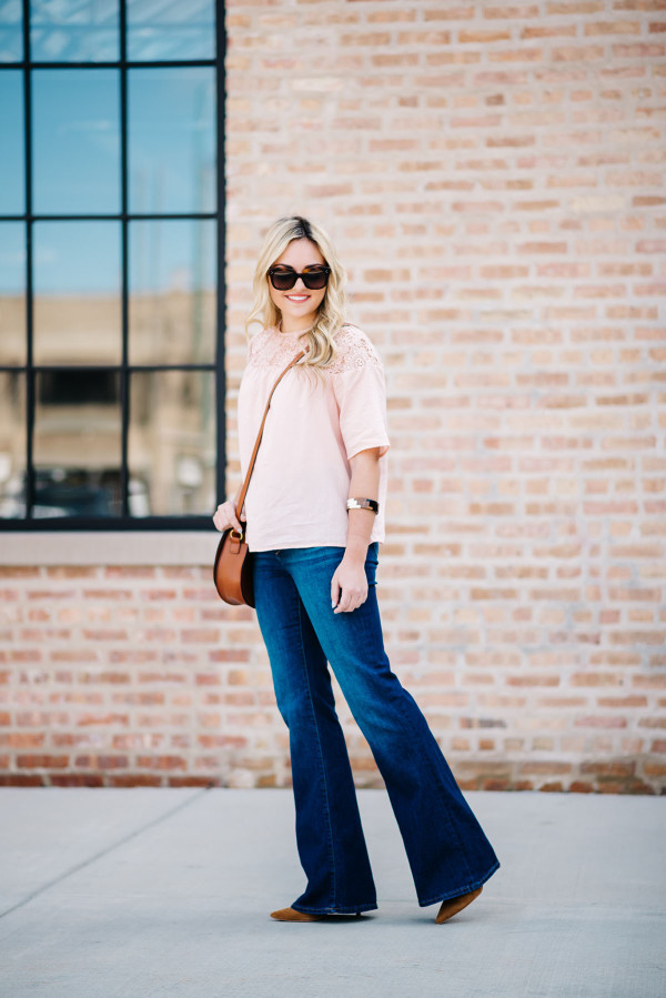 flare jeans spring outfit