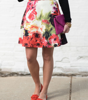 floral fit and flare skirt