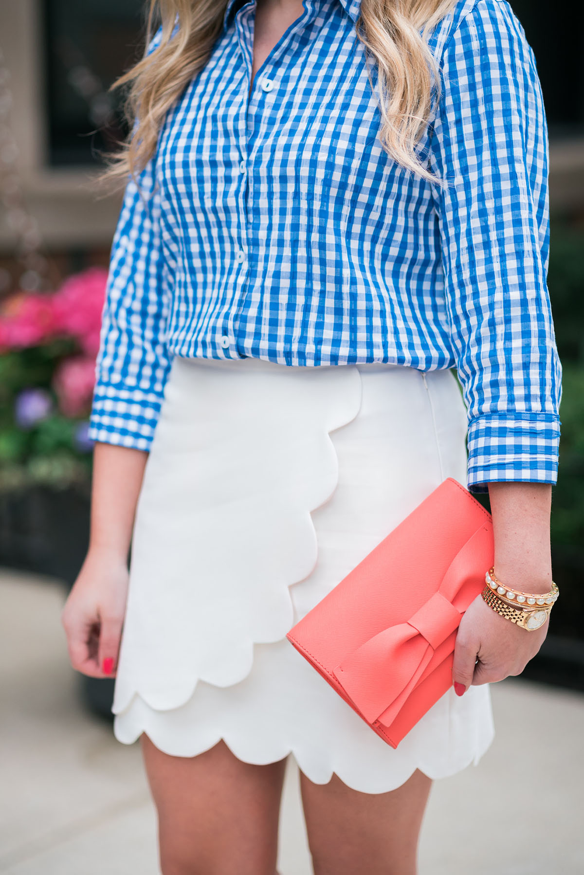 foxcroft blue gingham shirt, nordstrom white scalloped skirt, kate spade coral bow clutch