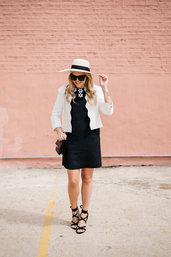 goorin bros hat, white scalloped blazer, black draper james dress, black ivanka trump lace up heels