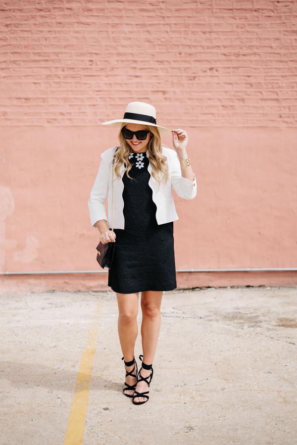 goorin bros hat, white scalloped blazer, black draper james dress, black ivanka trump lace up heels