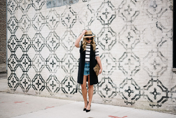 high waisted denim shorts, panama hat, striped tee, pumps