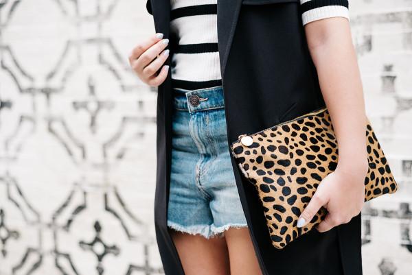 stripes, leopard print clutch clare v, high waisted denim cut off shorts