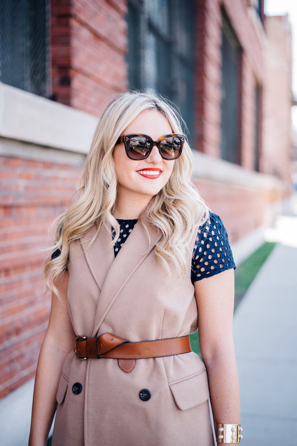 how to belt your vest over a dress outfit