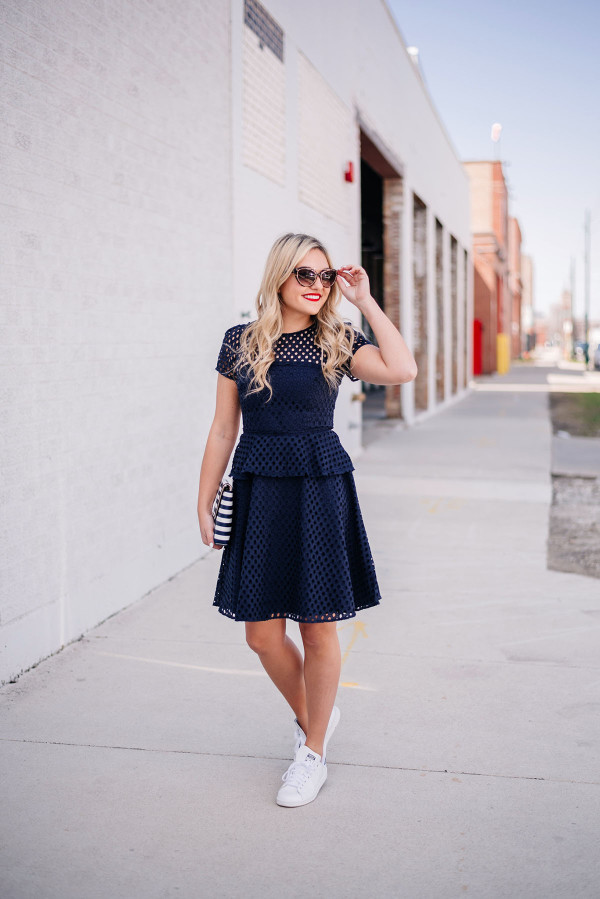 how to wear a dress with sneakers outfit