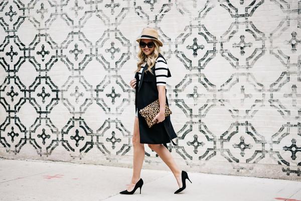 how to wear a long black vest outfit, striped tee, denim shorts, leopard clutch, kate spade pumps