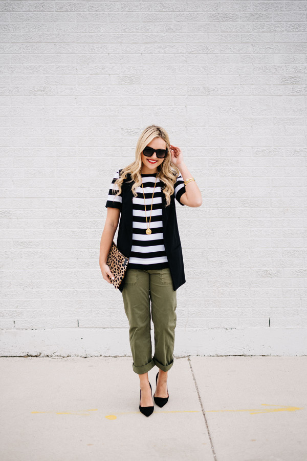 how to wear army green pants outfit